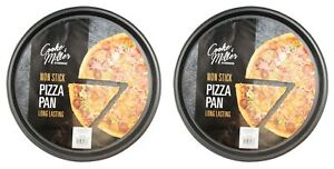 2x Large 13'' Non Stick PIZZA TRAY Carbon Steel Baking Round Oven Tray Pizza Pan