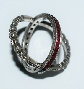 Vintage Art Deco Ring Reversible Jewelry Sterling Paste Cocktail Unusual 1930