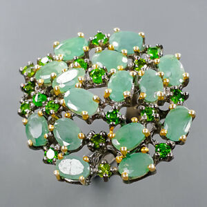 Expensive emerald gem Emerald Ring Silver 925 Sterling  Size 6 /R172053