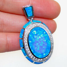 Hot Solid Sterling S925 Blue Fire Opal Seahorse Women Pendant Necklace