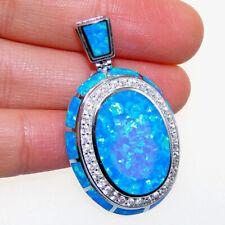 100 Sterling S925 Big Oval Lab Bule Opal CZ Engagement Women Necklace Pendant