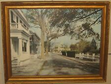 Rare CHARLES SAWYER 'Pleasant St NANTUCKET' Hand Colored PHOTO - Wallace Nutting