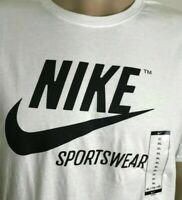 Men's NIKE T-SHIRT SPORTSWEAR  Swoosh Crew Athletic Fit Tee White Black Size XL