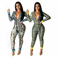 Womens Long Sleeves Snakeskin Print Casual Club Party Bodycon Belted Jumpsuit