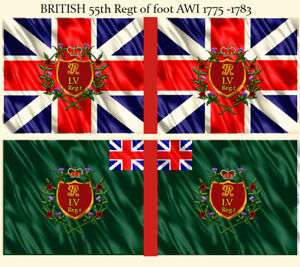 AWI British Infantry 28mm scale 4 regts flag sets  on cotton