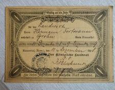 Bremen Grohn Jahresjagtschein Jagdschein von 1908