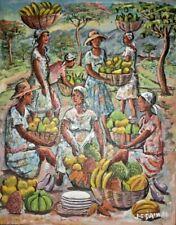 """ORIGINAL HAITIAN FOLKART PAINTING BY JEAN CLAUDE DAMAS """"MARKET"""" 10""""08"""" HAITI"""