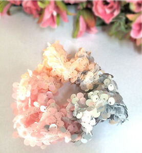 Sequin Glitter Hair Accessories Scrunchie Pink Orange Blue 'ICE PRINCESS'