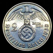 1938 D~ 2 Mark German WW2~0.625 Silver Coin Third Reich Swastika Reichsmark Rare