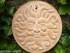 Terracotta Green Man Garden Plaque - 20cm dia. Mythical Garden Decor - FREE POST