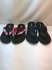 2 PAIR OKABASHI Black USA Red White Blue Flip Flop Sandals Size Medium 7-8 Woman