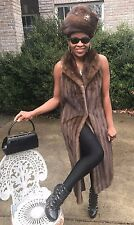 Mint Designer Full Length Lunaraine sable hue Mink Fur Vest Coat Jacket S-M 4-10