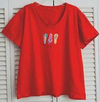 Fresh Produce Top Coral Hawaii Sandals V-Neck Short Sleeves T-Shirt USA L