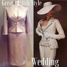 PHASE EIGHT DRESS SUIT JACKET SIZE 12 - 14 CREAM GOLD MOTHER OF BRIDE COTTON MIX