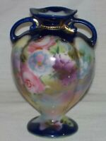 Nippon Hand Painted Vase ~ Roses ~ Gold ~