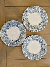 "Williams-Sonoma NAPA FOG Blue Plates W/ Raised Grapes & Leaves 11 1/2""  SET 3"