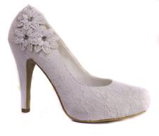 FLOWER CORSAGE IVORY SATIN & LACE HIDDEN PLATFORM WEDDING SHOES SIZE 3 - 8 UK