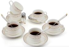 Porcelain Tea Cup and Saucer Coffee Cup Set with Saucer and Spoon 18 pc s1