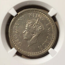 1945 (B) INDIA NORMAL 5 RUPEE NGC AU DETAILS RIM DAMAGE - SILVER