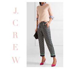 J CREW Cropped Silk Pant Foulard Print sz 6 G2430 Navy Green Pajama Bottoms NEW