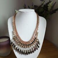 Retro Stunning Egyptian Revival Gold Tone Sparkly Diamante Collar Necklace