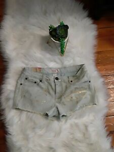 NWT OP OCEAN PACIFIC Shorts Size 11 Light Washed Blue Jeans W/ Gold Metallic