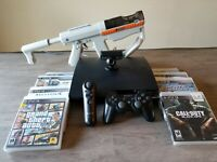 Sony Playstation3 PS3 SLIM (CECH-2501B) 320GB Console 8 Games & Light Gun BUNDLE