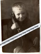 dated 1944 Ww Ii Little Boy with Antique Telephone Original Vintage Photo Russia