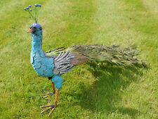 Large Blue Metal Peacock Patio Sculpture Bird Animals Garden Statue Ornament  New