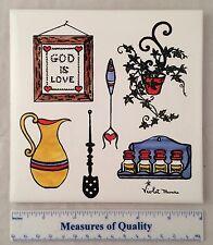"""Tile Trivet Violet Munro 6"""" God is Love Kitchen Violetiles handpainted Usa r5"""