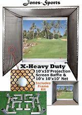 Golf Impact Projection Screen 10' x10' Baffle w/ 10'x10'x10' Net & Frame Corners