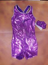NWOT Small child foil shorty unitard Gymanstics Hologram Sequin Purple Foil