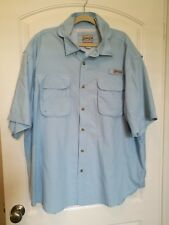 Bimini Bay Men's 3XL BF Light Blue Vented Outfitters Fishing Camp Shirt SS