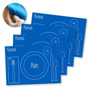AllSpice Kids Table Setting Placemat 4-Pack, Silicone