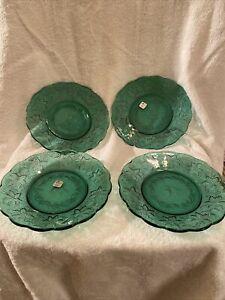 "4 PRINCESS HOUSE CRYSTAL Green Fantasia 8"" Lunch Salad Dessert PLATES 5229  New"