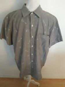 Disney Parks Coco Button Up Shirt Size Large Brown Guitars Skeletons Cotton