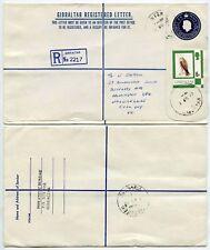 GIBRALTAR REGISTERED STATIONERY UPRATED 25p + 6p BIRD HAWK 1977