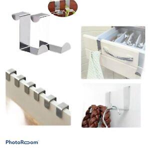 2 Hooks Over The Door Bathrobe Hanger Stainless Steel Hooks Kitchen Bedroom Bath