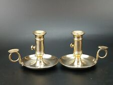 More details for antique brass chamberstick push up candle holder pair