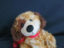 1ST AND MAIN BROWN BRINDEL PUPPY DOG BOOMER RED SATIN BOW PLUSH STUFFED ANIMAL
