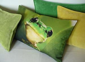 Kissen Kissenhülle Ziege Zicklein Gesa 30x50 grün weiß natur Proflax 100/% BW