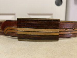 Vintage Kenneth Reid Wood Inlay Buckle Leather Belt