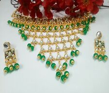 Indian Kundan Necklace Green Pakistani Pearls Choker Meena Gold Plated Jewellery