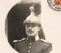 CUIRASSIER RIDER HEAVY CAVALRY HELMET WAR ANTIQUE RPPC PHOTO POSTCARD