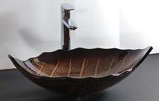 Design Aufsatz Glas Waschbecken Waschschale oval Blattform braun Waschtisch NEU