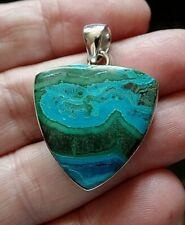 Striking Chunky Sterling Silver and Malachite in Chrysocolla Pendant 9.1g