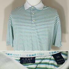 COMO SPORT Men's XXL 2XL Green & Blue Striped Golf Polo S/S Shirt 100% Cotton