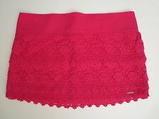 NEW Abercrombie Womens Floral Lace Crochet Mini Skirt Size Large Hot Pink