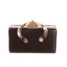 RRP €2085 VALENTINO GARAVANI Leather Clutch Bag Metal Loop Handle Chain Strap