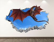 Red Dragon Decal Art Decor 3D Smashed Kids Removable Mural Nursery Sticker BL32